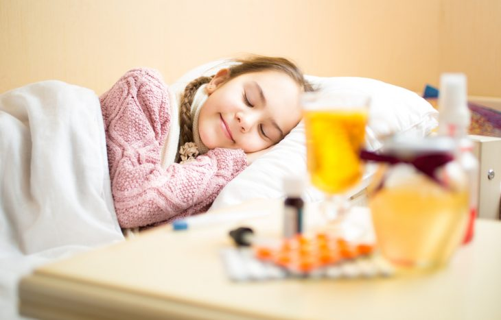 У ребенка сильная ангина и температура